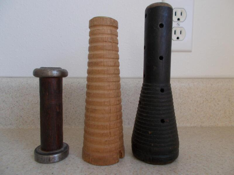 "lot of 3 wooden INDUSTRIAL THREAD SPOOLS Textile 4.75 to 8"" tall vintage antique"