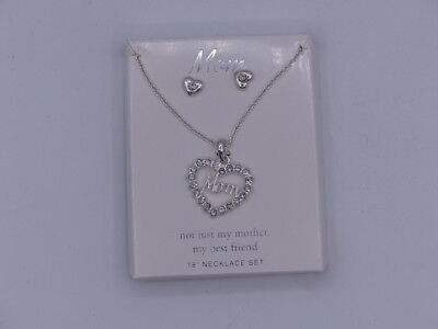 MOM  BEAUTIFUL SPARKELY NECKLACE EARRINGS 18