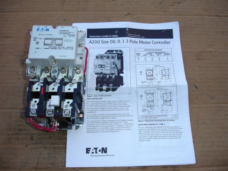 Eaton Motor Control Stater Size 00, 0 1A  Model A200M1CX 7.5-10 HP NEW
