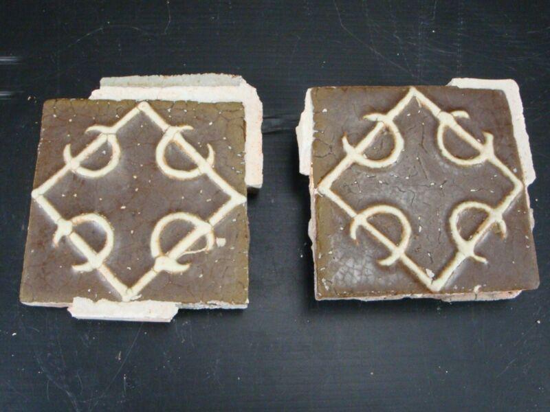 (2) VERY RARE - Grueby Pottery Tile - (2 COLORS) - GEOMETRICS - (SAVE U FRAME)