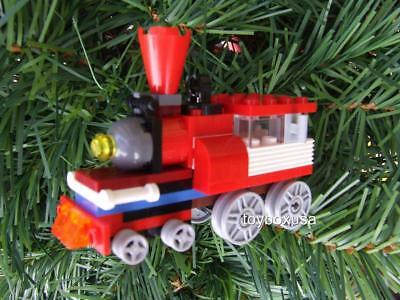 * New * Custom Lego Christmas Holiday Tree Ornament Train Built w/ NEW Bricks