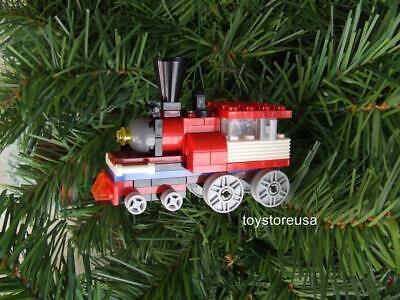 New Lego Christmas Holiday Train / Tree Ornament / Built w/ NEW Bricks Parts