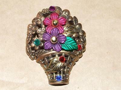 Multi Color Jeweled Flower - VTG Jeweled Gold & Multi Color Painted Celluloid Flower Basket Pin Brooch 2.25