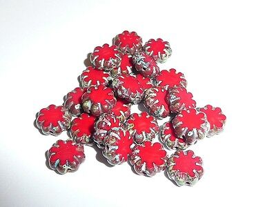 Cute Opaque Red Czech Flat Flower Glass Beads -  Picasso Finish on Edge (25) 9mm