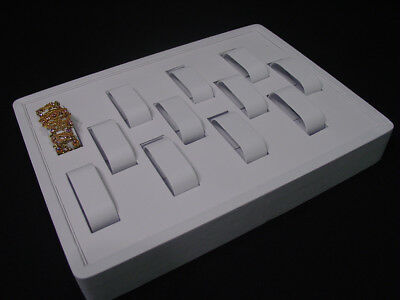 12l X 9w 12 Parts White Leatherette Bracelet Watch Display Case Stand Rt2w1