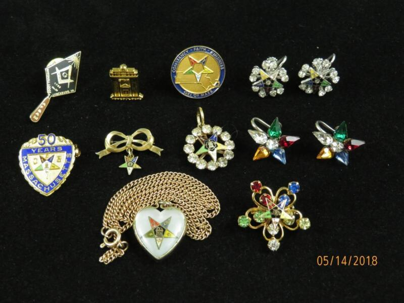 Collection of Masonic Mason & Order of Eastern Star Jewelry Tie Pins Earrings !