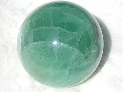"3.1"" FLUORITE SPHERE EMERALD GREEN DECORATIVE CRYSTAL BALL 79mm CHINA"