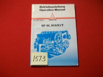 Deutz Service Bf 6l 913ct Air-cooled Diesel Operation Manual 297 3917 Deen