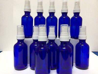 Glass Spray Bottle Set of 12 New 2oz Blue Glass Bottles Whit