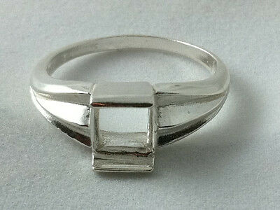 7x7mm Square Plate Style Sterling Silver Pre-Notched Ring Setting Size 9