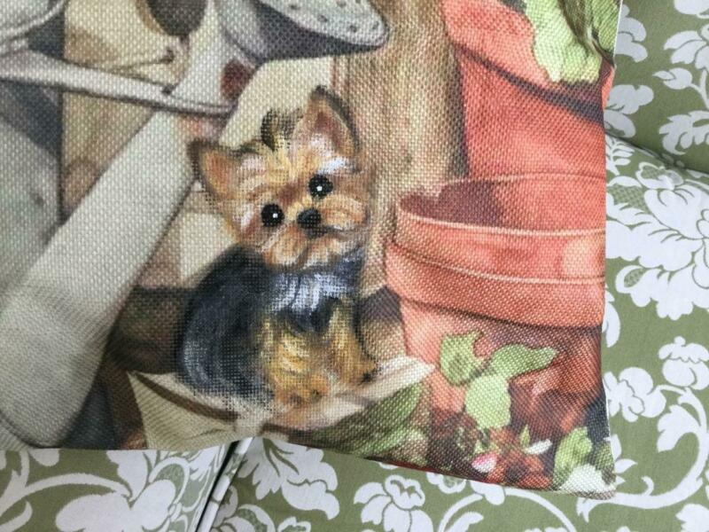 YORKIE HAND PAINTED ON BEAUTIFUL DECORATIVE PILLOW!