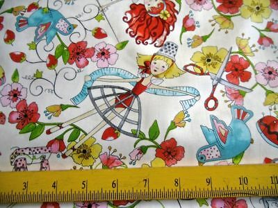 "Quilting Treasures Fabric ""Sewing Fairies"" Florals Birds Thimbles Scissors"