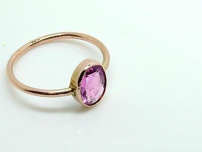 Antique Estate Edwardian Pink Stone and 9ct Rose Gold Ring Large Size