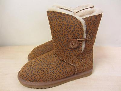 Shearling Footwear (California Footwear Women's BROWN Shasta Patterned Shearling Boots sz 7 NEW! )