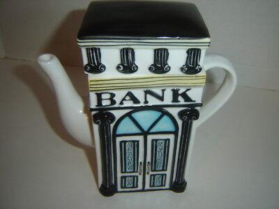 "TEA POT REVERSIBLE HANDBAG and BANK 6 1/2"" HIGH DECORATIVE CERAMIC"