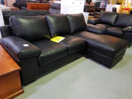 3 SEATER CHAISE 100% GENUINE LEATHER BLACK