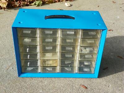 Vintage 24 Drawer Akro-mils Metal Nutbolt Small Parts Storage Cabinet