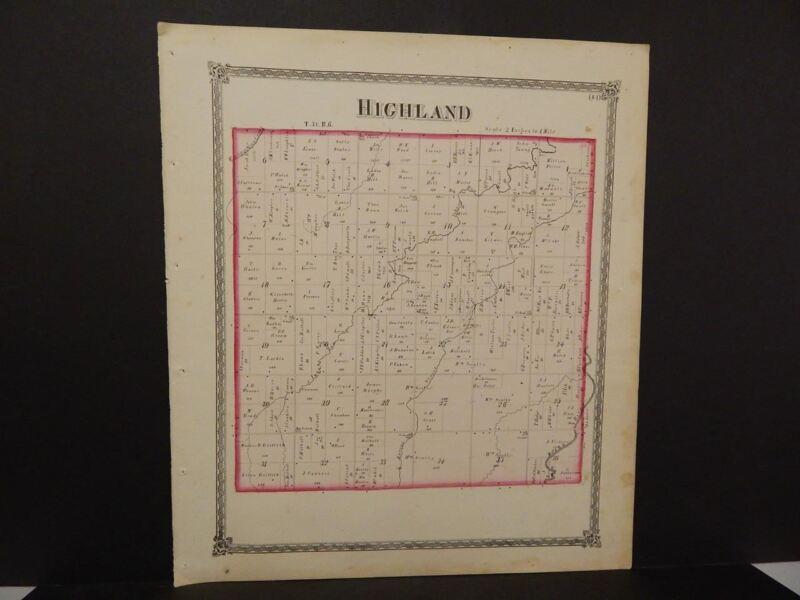 Illinois Grundy County Map Highland Township  1874 Dbl Pg Q5#36