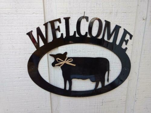 Cow Handcrafted Metal Welcome Sign black silhouette Made in the USA