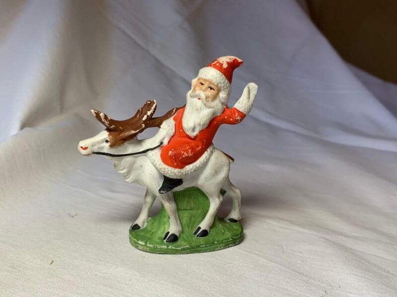 "Rare Large Santa on Reindeer 3"" Bisque Germany Snow Baby Vintage Christmas"