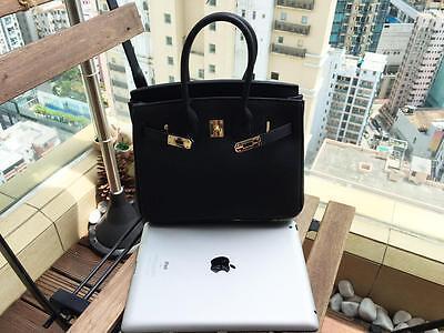25CM Black Women Genuine Togo Leather Handbag Bag Satchel Bag Birkin Style bid