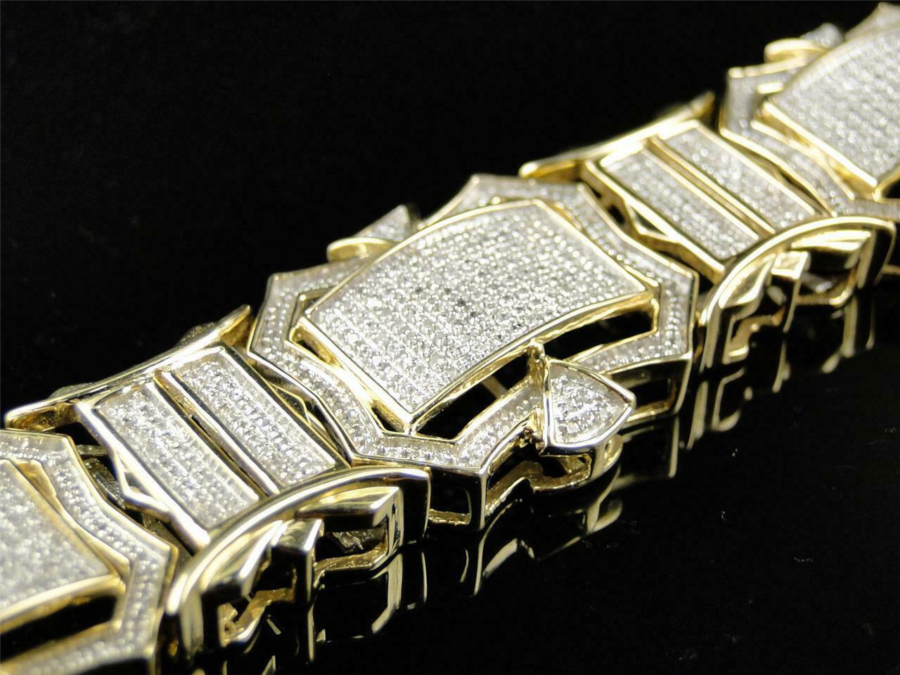 12CT Diamond 14K Men's Yellow Gold Over Engagement Exclusive Tennis Bracelet 4