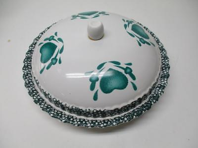"""Pie Keeper, Server, Plate Dome Lid Green Hearts Ceramic 11"""" ABC DISTRIBUTING INC"""