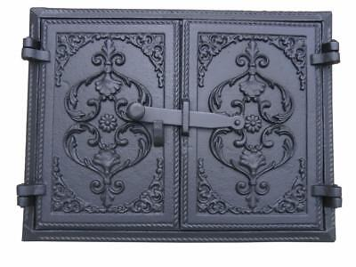 Cast Iron Fire Door Clay Bread Oven Pizza Stove Quality Black (F) 41,5 x 32