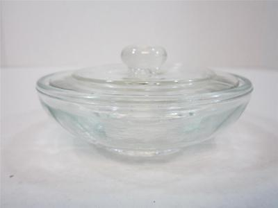 Vintage Condiment Dish Glass Mustard Dish Divided Clear Glass Dish With Lid