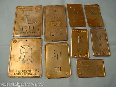 9 x EU alte Merkenthaler Monogramme, Kupfer Schablonen, Stencils, Patrons broder