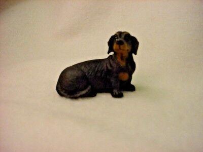 DACHSHUND black puppy TiNY DOG Figurine HAND PAINTED MINIATURE Statue Small MINI