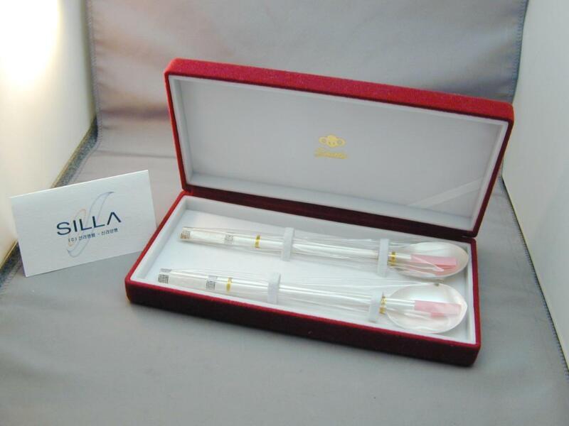 2 Silla Korean 800 Silver Enamel Spoon Chop Sticks Sets New In Box Symbols