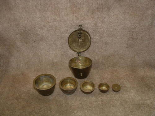 RARE ANTIQUE SOLID BRASS APOTHECARY 6 PIECE NESTING CUPS GRADUATED SCALE WEIGHT