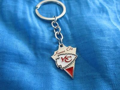 Silver Tone Football Keychain (Silver Tone NFL Football KC Kansas City Chiefs Keychain)