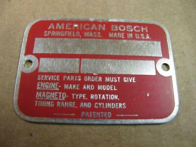 Unused Blank American Bosch Magneto Serial Number Id Tag Plate