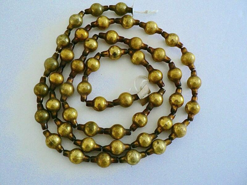 "42"" ANTIQUE GERMANY VINTAGE BRIGHT SMALL  GOLD CHRISTMAS BALL GARLAND"
