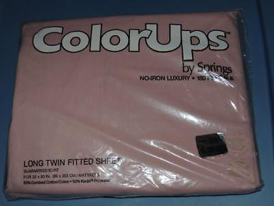 NEW SPRINGS COLOR UPS EXTRA LONG TWIN FITTED SHEET ENGLISH ROSE PINK X-LG