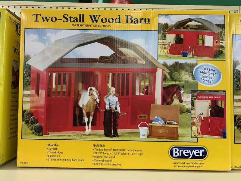 NEW Breyer Traditional Painted DeluxeTwo-Stall Wood Horse Barn Toy Red #307 NOS