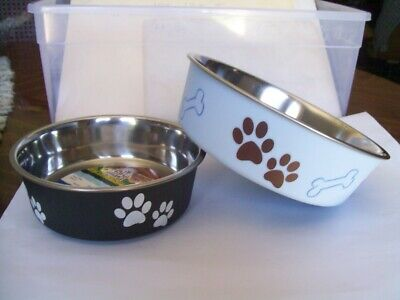 SET OF 2 BELLA DOG BOWLS MEDIUM & SMALL - COLOR MURANO BLUE & ESPRESSO BRAND NEW