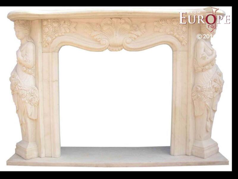 BEAUTIFUL HAND CARVED VICTORIAN STYLE SOLID MARBLE FIREPLACE MANTEL - LST1