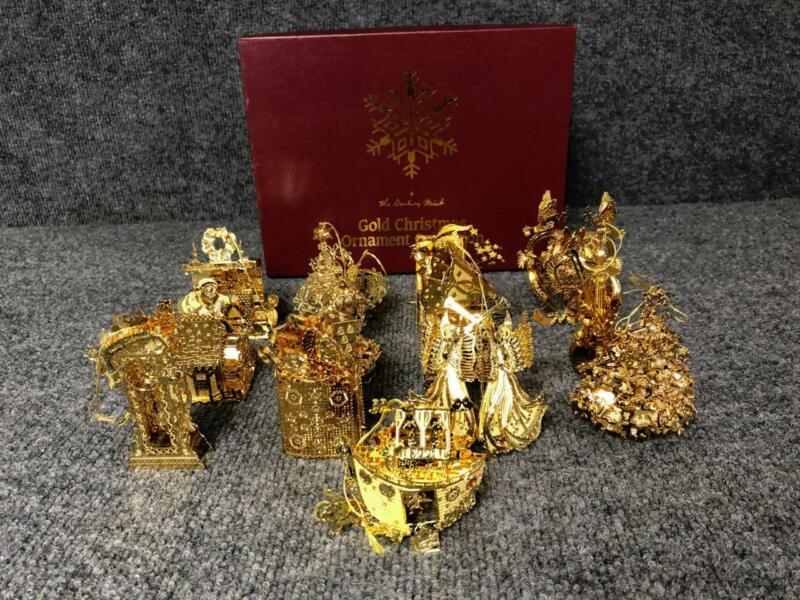 12 Danbury Mint Gold Plated Christmas Ornament Collection Set