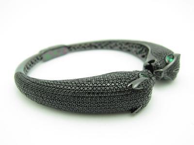 Black Gold Sterling Silver Pave Black Sapphire Panther Cuff Bangle Bracelet Gift