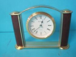 Vintage Bulova Brass Desk Clock Pillar Column German Movement B2254
