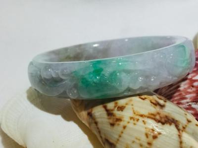 100% Certified Natural Vintage Grade A Jade Jadeite Bangle Bracelet Art #J6752