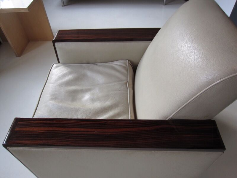 French Art Deco Chairs, Linen ,Leather  And Madagascar Ebony ,Pair 1930's .