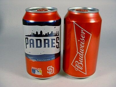 2017 12 OZ BUD BUDWEISER SD SAN DIEGO PADRES BASEBALL CANS BOTTOM OPEN FREE SHP
