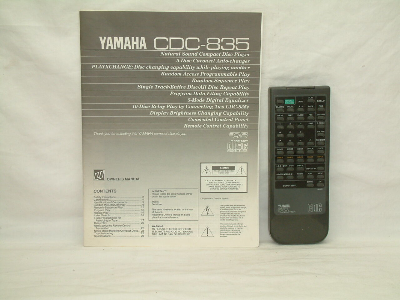 Yamaha CDC-835 CD Player Owners Manual - ORIGINAL + REMOTE CONTROL +  Brochure