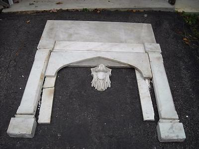 Antique Hand Carved  White Marble Fireplace Surround, 44 & 3/8