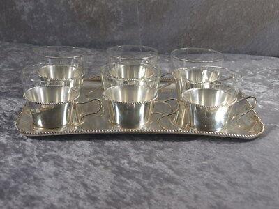 WMF Teeservice Tablett Silber Auflage versilbert Kordelrand 13 tlg. 60er 70er