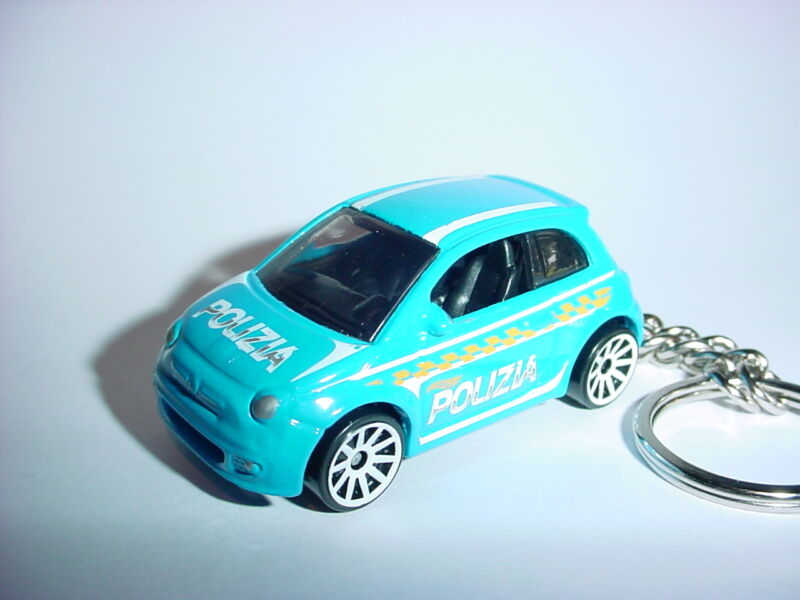 NEW 3D FIAT 500 CUSTOM KEYCHAIN keyring key Beautiful Light Blue finish POLIZIA!